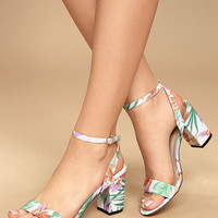 Chilali Nude Print Ankle Strap Heels