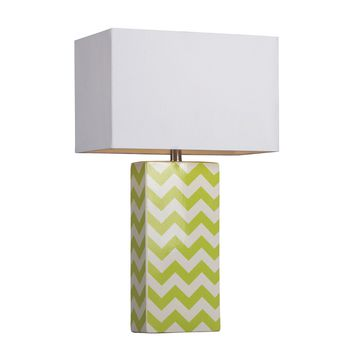 D278 Chevron Print Ceramic Table Lamp In Green And White - Free Shipping!