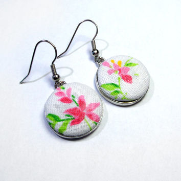 Dangle Earrings, Pink and Green Flowers on White Earrings, Fabric Buttons Spring Jewelry, drop earrings, romantic earring, floral earrings