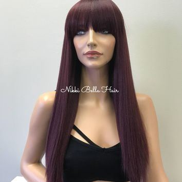 Burgundy Human Hair Blend Full Wig - Majorie 81719 ON SALE