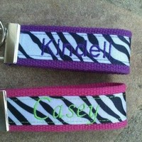 Zebra Personalized Key Chain or Key Fob.  Makes a great gift *CHELLE*