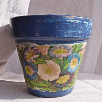 Planter Flowerpot With Victorian Floral Motif Shabby Decoupage Clay Pot