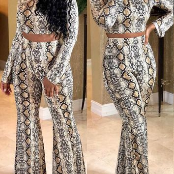 New White Snake Print Two Piece Long Sleeve Bell Bottomed Flares Party Clubwear Long Jumpsuit