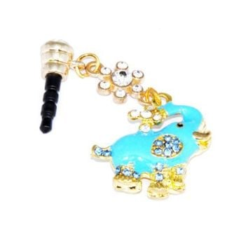 Cutequeen Dust-proof Ear Cap Blue Elephant 3.5mm Plug For iPhone 3G 3Gs 4G 4S 5 FC12