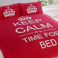 TWIN TEAL TEENAGER KEEP CALM ITS TIME FOR BED COTTON REVERSIBLE COMFORTER COVER