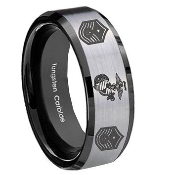 8mm Marine Chief Master Sergeant  Beveled Brush Black 2 Tone Tungsten Mens Ring Engraved