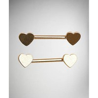 14 Gauge Gold Heart Nipple Barbells - Spencer's