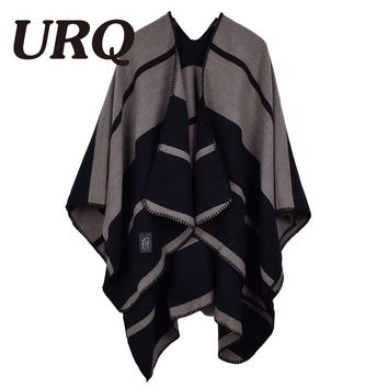 [URQ] 2017 New Women Poncho Prorsum Cashmere Imitation Wool Scarf  Poncho Cape Plaid Check Blanket Poncoes A13A15845