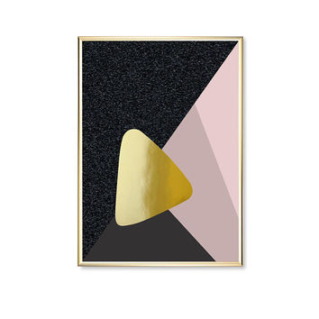 Pink Black Transparent Triangle, Modern Triangle Poster, Shapes Print, Geometric Poster, Home Decor, Modern Art, Gold Triangle Print,