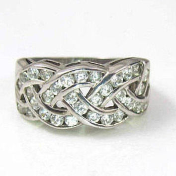 Sterling Silver CZ Band Ring, Cigar Band Cubic Zirconia Braided Ring. Size 8