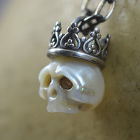 READY TO SHIP - Carved Pearl Skull Necklace Wearing Oxidized Sterling Silver Crown - Skull Jewelry - Unique Gift - Pearl Necklace