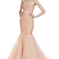 Chantilly Lace Corset Gown With Full Fishtail Tulle Skirt by Marchesa - Moda Operandi