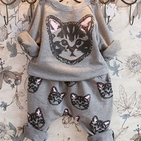New Baby Girls Boys Kids Cat Sweatershirt Sweater Pants Outfits Clothes Sets