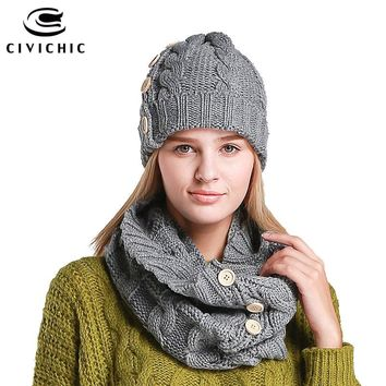 CIVICHIC Woman Elegant Knitted Hat Neck Scarf with Buttons Lady Two Piece Set Solid Thicken Warm Chic Cap Fashion Scarves SH103