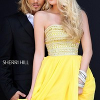 Embellished Strapless Dress by Sherri Hill