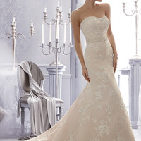 Mori Lee 2676 Strapless Lace A-Line Wedding Dress
