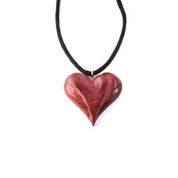 Wood Necklace, Wooden Pendant, Wooden Heart Pendant, Wood Jewelry, Wooden Heart Necklace, Wooden Heart, Heart Jewelry, Hand Carved Pendant