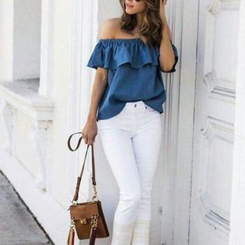 2018 Summer Women Off Shoulder Blouse Vintage Ruffles Blouses Sexy Sleeveless Jeans Denim Blue Shirts Female Casual Blusas Tops
