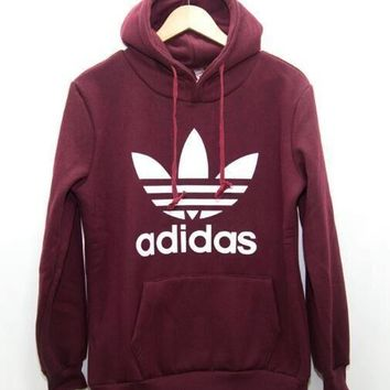 "Fashion ""Adidas"" Print Hooded Pullover Tops Sweater Sweatshirts Wine red H 8-14"