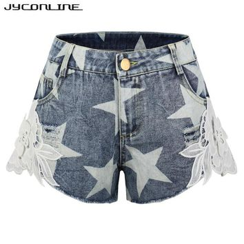 JYConline Hot Summer Women Shorts 2017 Lace Crochet Shorts Women Short Jeans Plus Size Stars Print Ripped Denim Shorts For Women