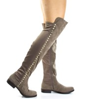 Montana71s Taupe By Bamboo, Faux Suede Elastic Equestrian Riding Boots w Metal Stud Detail