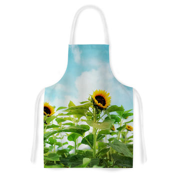 "Sylvia Cook ""Sunflower Field"" Blue Green Artistic Apron"