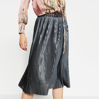 SHINY PLEATED MIDI SKIRT - NEW IN-WOMAN | ZARA United Kingdom
