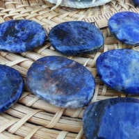 Lg Sodalite Palm Stone, Chakra Stone, Worry Stone, Fidget Stone ~ 1 Reiki infused polished flat crystal, wire wrapping approx 2in