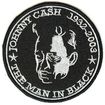 Johnny Cash Iron-On Patch Round Man In Black Logo