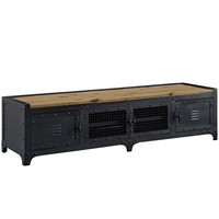 Dungeon Industrial Wood TV Stand Black Powder Coated Steel