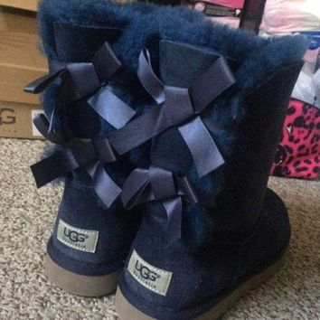 UGG Women male Fashion Wool Snow Boots Navy blue
