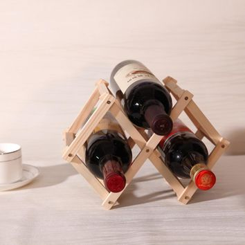 New High Quality Classical Folding Wooden Red Wine Holder Racks 3 Bottles Wine Stand Display Shelf For Kitchen Bar