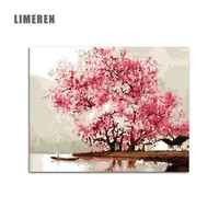 Pink Flowers Tree Diy Painting By Numbers Cove Oil Painting Cuadros Decoracion Acrylic Paint On Canvas Modern Wall Art