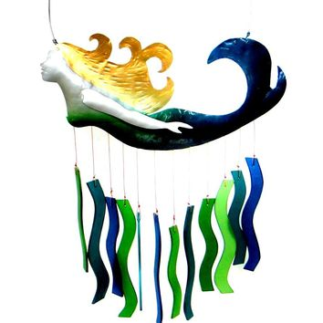 Hand Cut Metal and Glass Mermaid Wind Chime