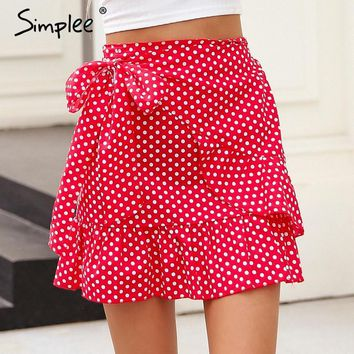 Simplee Polka dot wrap skirts women Floral print summer style mini skirt Streetwear ruffle high waist short skirt female 2018