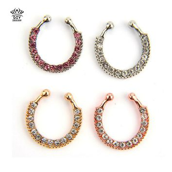 Titanium nose Rings Crystal Fake Nose Ring Septum Piercing Hanger Clip On Body Jewelry Nose Hoop rings nose earrings