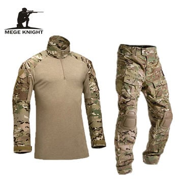 Tactical camouflage military uniform pants with knee pads