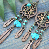dreamcatcher earrings tribal earrings laser earrings wooden turquoise zuni style boho bohemian tribal fusion gypsy  style