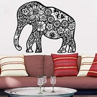 Wall Decal Elephant Vinyl Sticker Decals Lotus Indian Elephant Floral Patterns Mandala Tribal Buddha Ganesh Om Home Decor Art Bedroom Design Interior C24