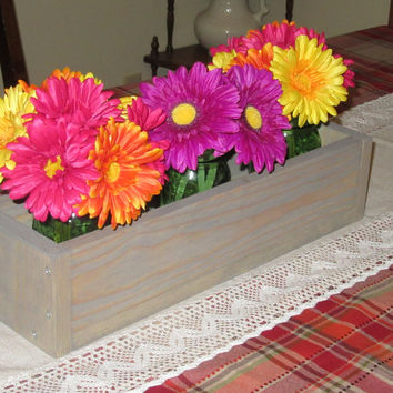 Weathered oak Wood Planter Box • Mason Jar Centerpiece, Long wood box, Candle Holder, Wedding Centerpiece • 21 inches long