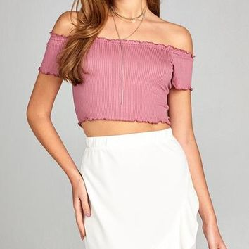 Dusty Pink Off Shoulder Ribbed Top