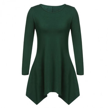 Women Fashion Casual Round Neck Long Sleeve Solid Asymmetrical A-Line Short Dress