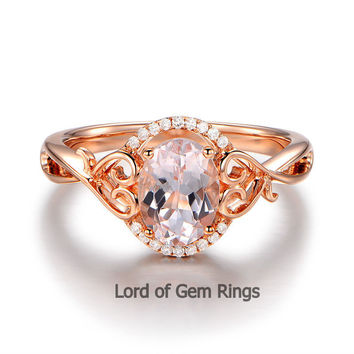 Oval Morganite Engagement Ring Diamonds 14K Rose Gold 6x8mm Floral