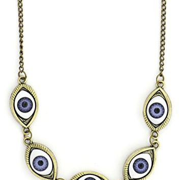 Eyeball Stations Necklace Blue Eye Gold Tone NS03 Statement Fashion Jewelry