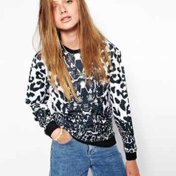 Jaded London Loose Fit Animal Print Sweat - Black