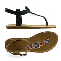 Made19S By Bamboo, Flat Thong Sandal w Tribal Beaded T-Strap & Adjustable Ankle Buckle