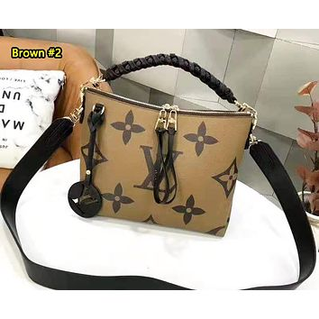 LV fashionable double zipper printed single shoulder bag is a hot seller for ladies shopping bag Brown #2