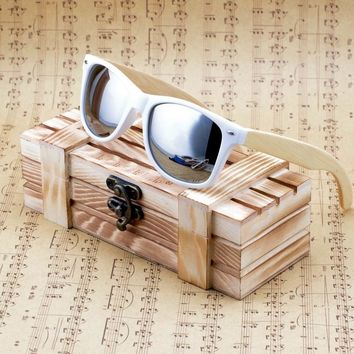 Unisex  Bamboo Wooden Sunglasses Mirrored UV 400 Protection Lenses in Wooden Box