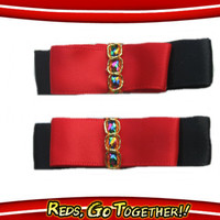 Red and Black Satin Tuxedo Bow Hair Clips - Set of 2 - Matching Pair Barrettes for Baby Toddler Girls