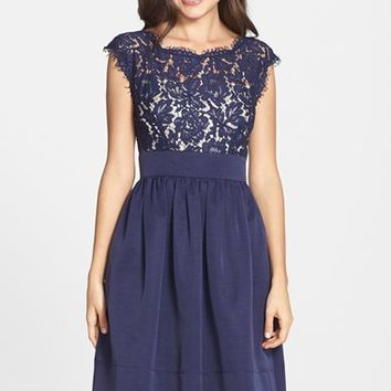 Women's Eliza J Lace & Faille Dress,